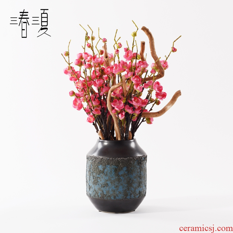 New Chinese style example room sales department zen simulation porch ark side red name plum bonsai the plants produce ceramics furnishing articles