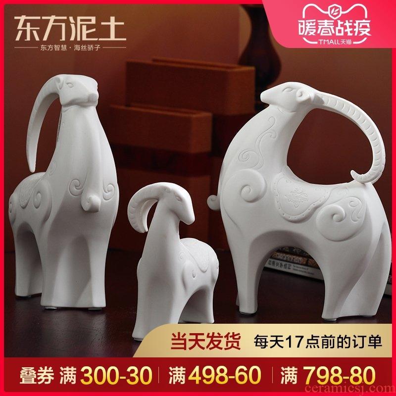 Oriental clay ceramic three Yang kaitai sheep furnishing articles new version into gifts/three Yang kaitai, fu lu shou