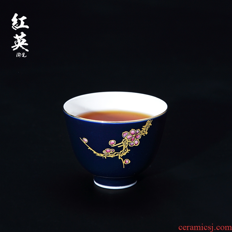 Red the jingdezhen ceramic kung fu tea set hand - made sample tea cup the blue paint cups little master cup single CPU