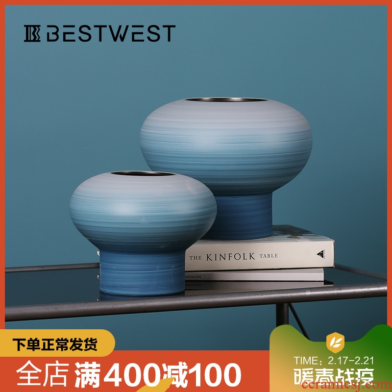 BEST WEST creative ceramic vase is placed between example wine sitting room light key-2 luxury soft adornment plugged into the vase