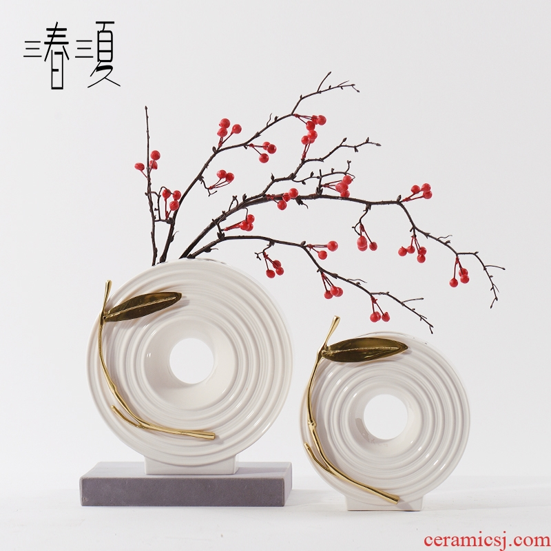 New Chinese style is I and contracted copper leaf ceramic vases, flower arrangement between example hotel porch sitting room table furnishing articles