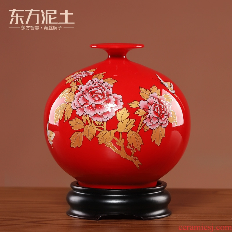 East China red porcelain vase furnishing articles new earth living room TV cabinet rich ancient frame of Chinese style household ornaments