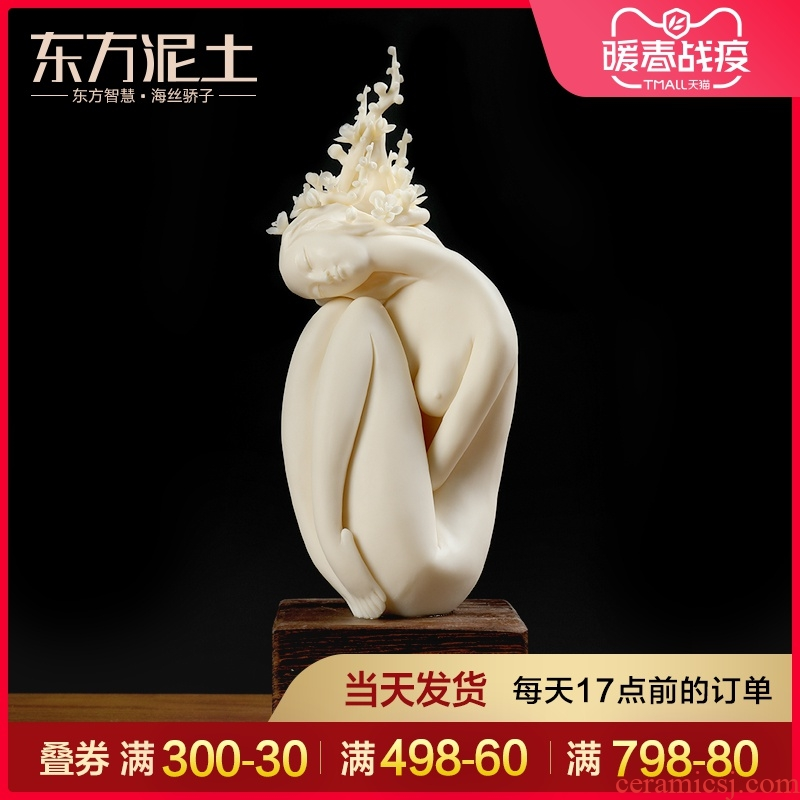 Oriental clay ceramic beauty character its art Chinese rich ancient frame wine sitting room decoration