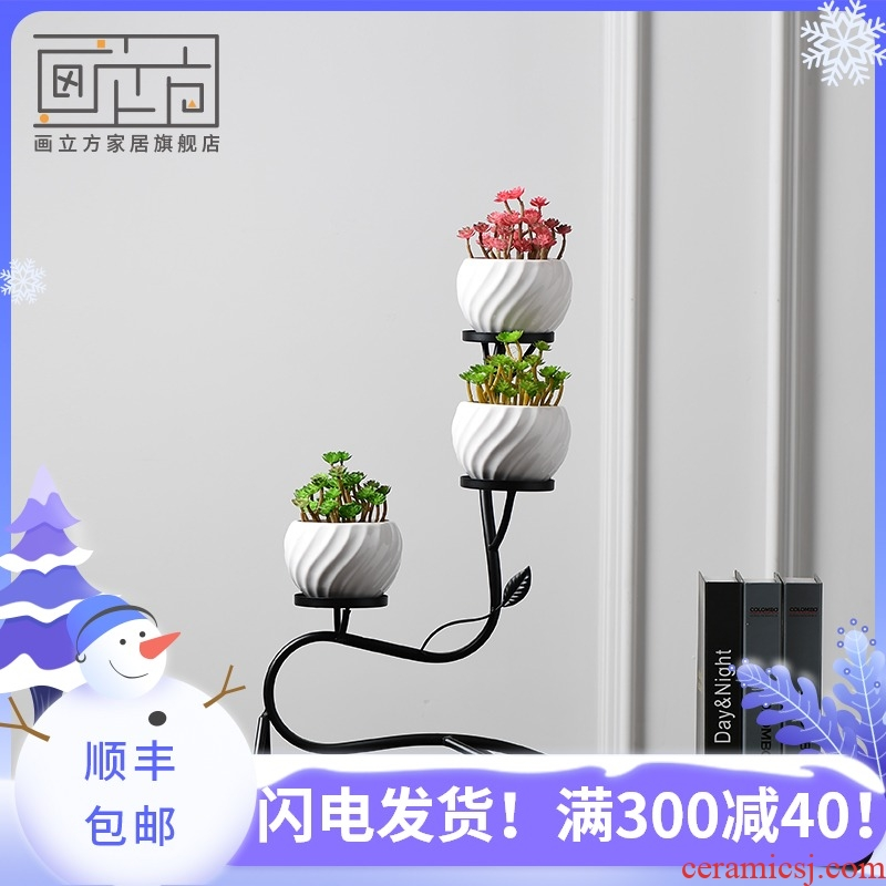 Cubic Nordic ceramic vase place potted, wrought iron flower decoration, creative home sitting room balcony