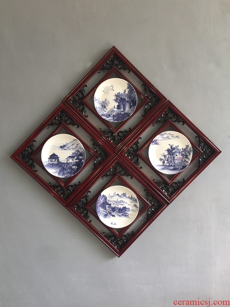 New Chinese style landscape wooden frame hang ceramic artist reside adornment teahouse hotel porch sitting room background wall accessories