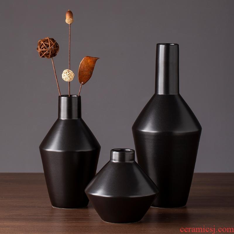 Nordic ceramic floret bottle of black zen contracted and I sitting room TV ark of desk creative furnishing articles dried flower vase