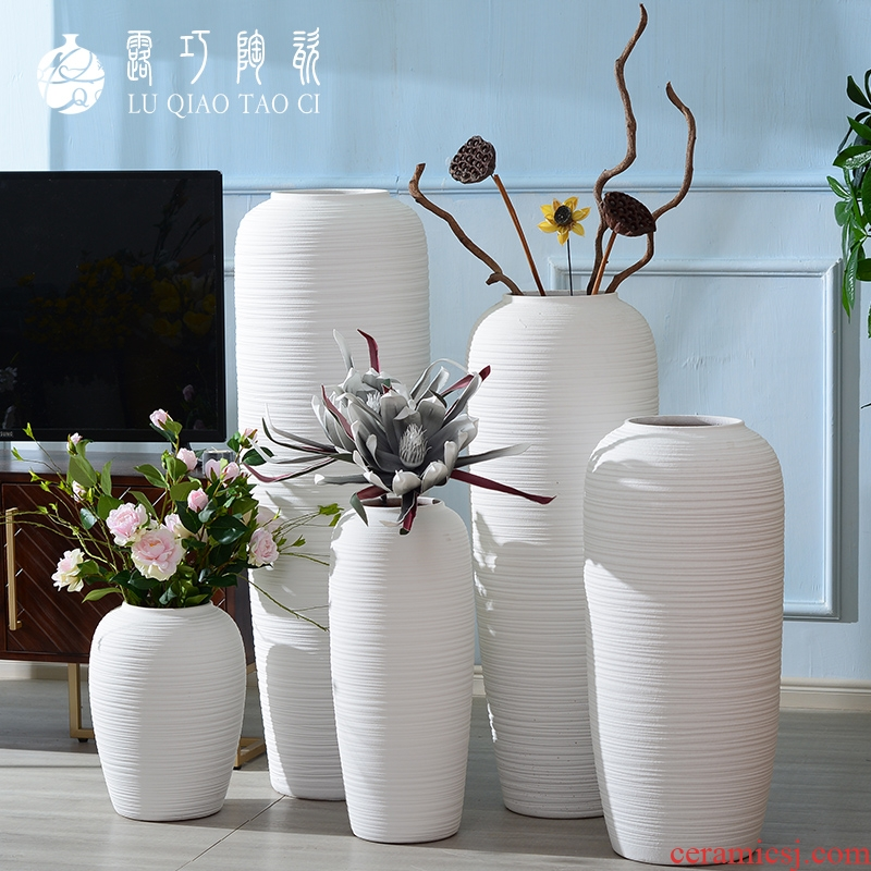 European big white vase furnishing articles furnishing articles sitting room be born I and contracted ins flower arranging simulation flower POTS to large