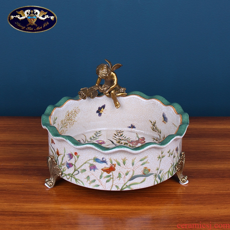 American ceramic dry fruit tray was home sitting room creative household act the role ofing is tasted high - class European - style key-2 luxury compote receive tea table plate