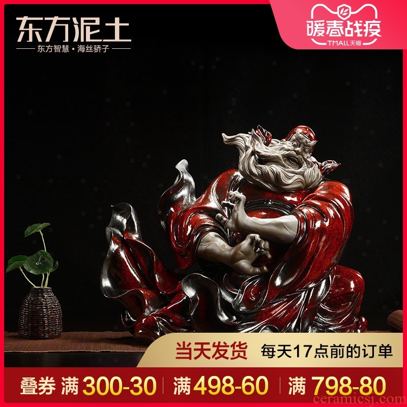 The east mud flame red glaze ceramic Chinese characters furnishing articles household adornment cabinet/doors of porch catch ghost