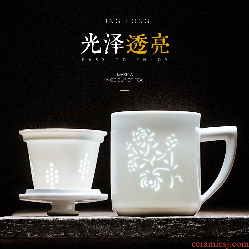 Jingdezhen ceramic filter cup tea cups separation exquisite household tea cups with cover cup by patterns
