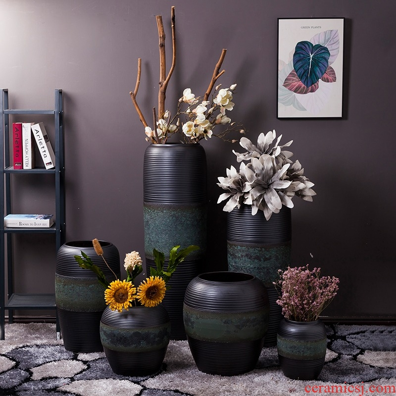 Jingdezhen ceramic furnishing articles large ground vase dried flower black modern new Chinese style porch home sitting room adornment