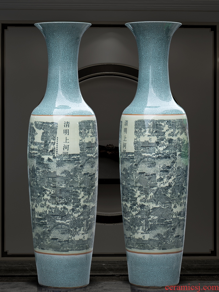 Jingdezhen ceramic open the slice of a large vase archaize crack glaze bright painting the living room the hotel decoration