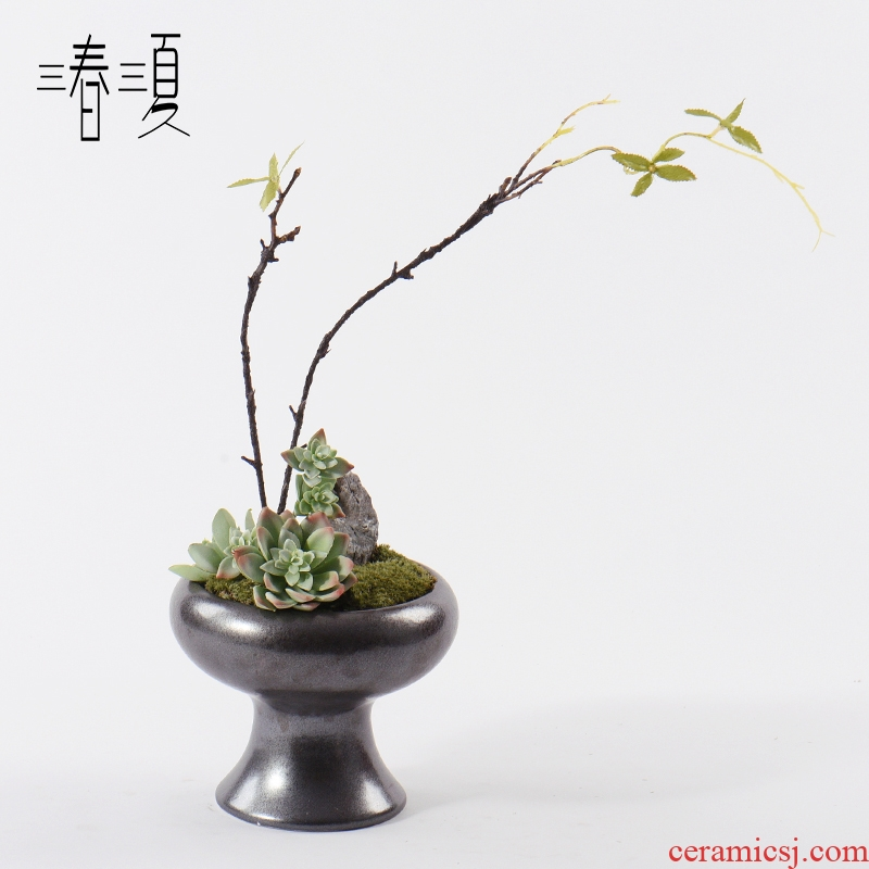New Chinese style flower art stone bonsai the plants flower arranging flowers exchanger with the ceramics zen tea table rich ancient frame, green plant furnishing articles
