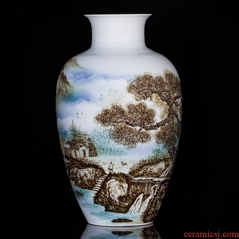 Jingdezhen ceramics famous master hand made blue and white porcelain vase happiness family sitting room adornment is placed