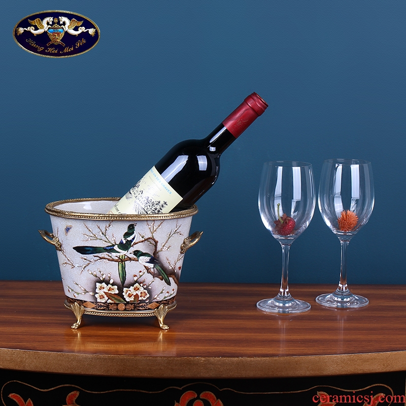 Creative household ceramic wine ice bucket receive furnishing articles Europe type restoring ancient ways is the sitting room tea table TV ark adornment ornament