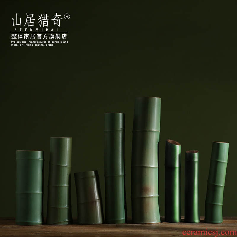 Green ceramic imitation bamboo vase Chinese example room household soft assembly act the role of creative flower arranging bamboo flowers