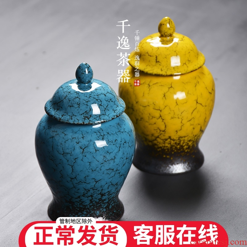 The general pot of new Chinese style furnishing articles ceramic sealed containers of canned tea caddy fixings save tea box empty box