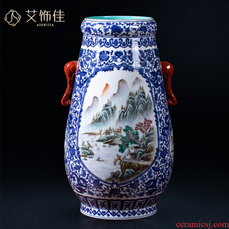Blue and white landscape ears trunk jingdezhen ceramics imitation qianlong vase flower arranging home sitting room adornment of the study