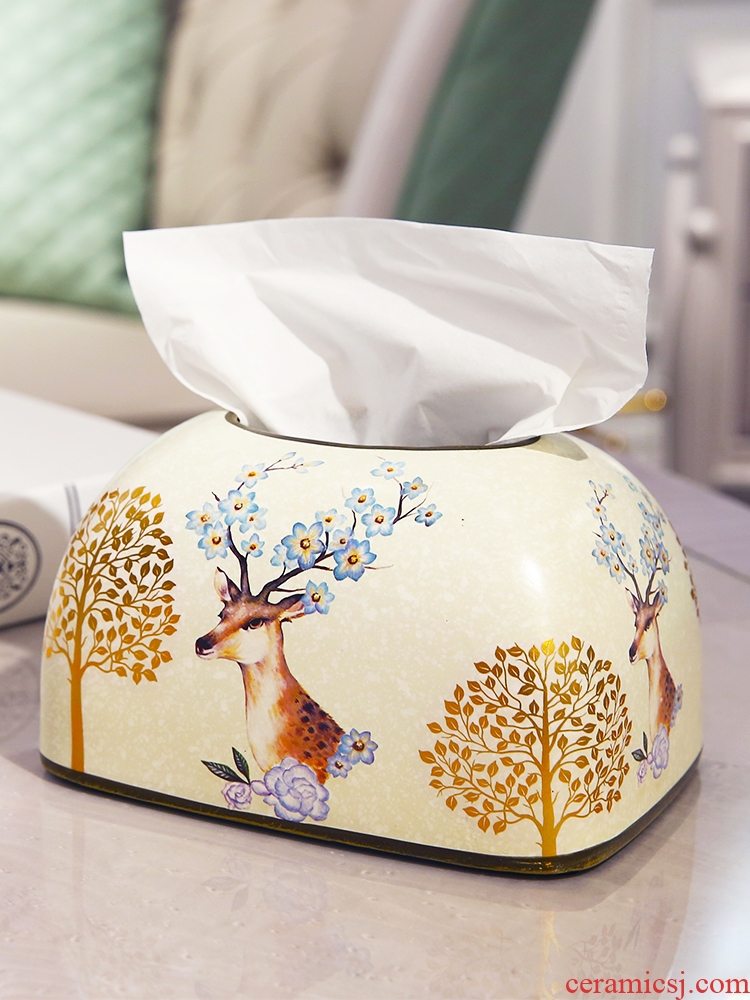 American country smoke creative ceramic carton ou rural place napkin tissue box sitting room dining - room table decoration