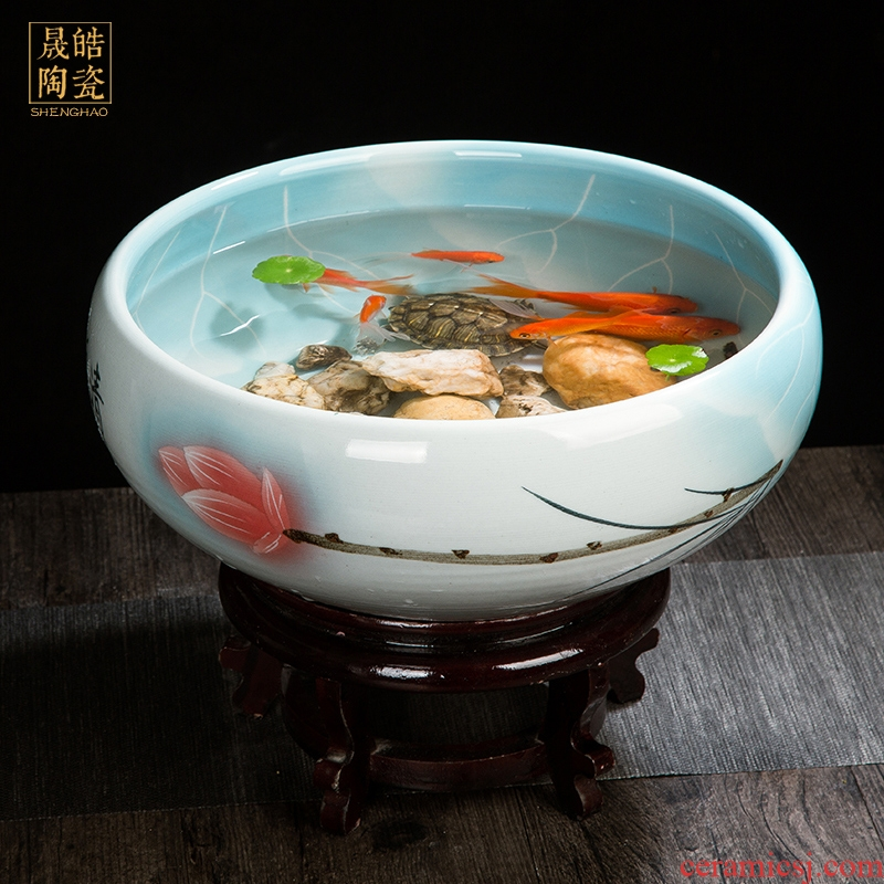 Jingdezhen ceramic aquarium goldfish bowl lotus fish bowl lotus pond lily tortoise cylinder household decorates sitting room furnishing articles