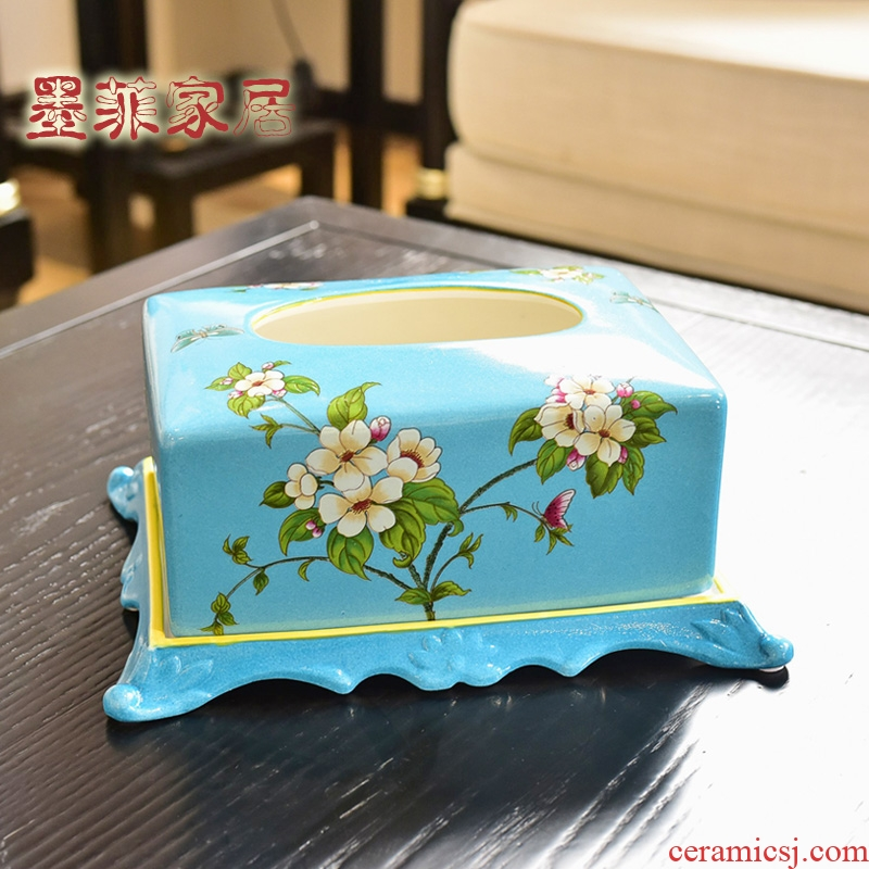 Europe type restoring ancient ways of new Chinese style dining - room sitting room tea table as ceramic pump cartons American household adornment tissue box furnishing articles