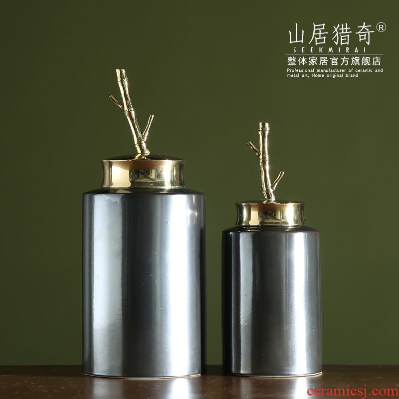 Modern French wine sitting room adornment is placed the new Chinese style household example room ceramics, bamboo cover tank