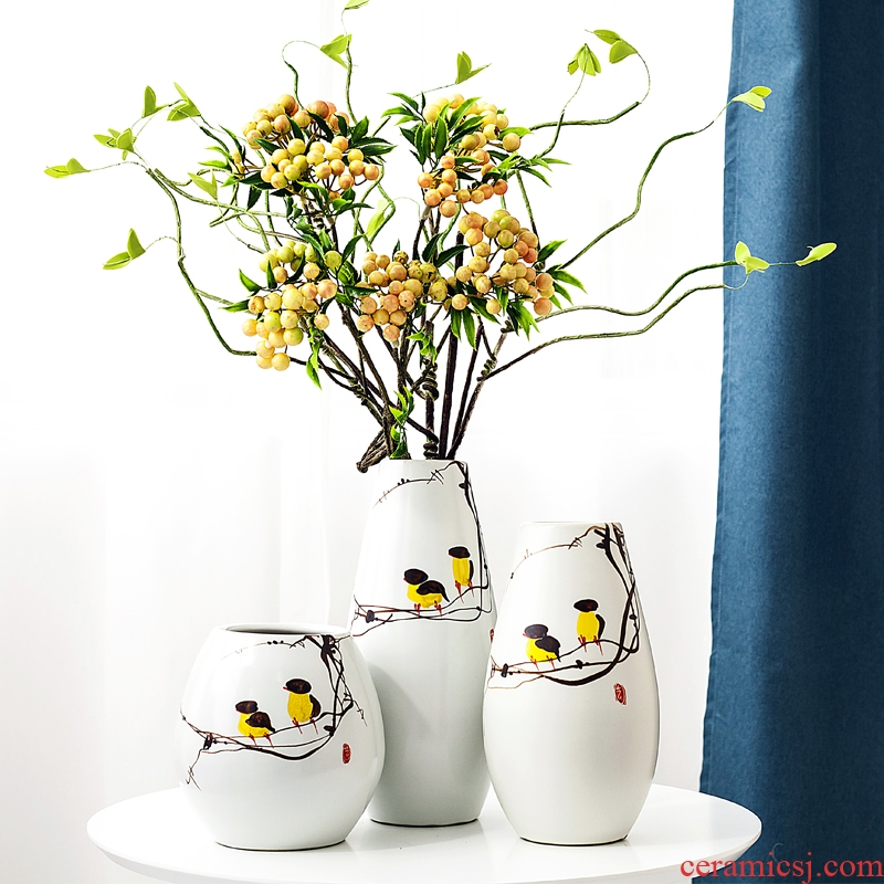 Modern new Chinese style three - piece vase jingdezhen ceramics, vases, flower arranging, home sitting room adornment is placed