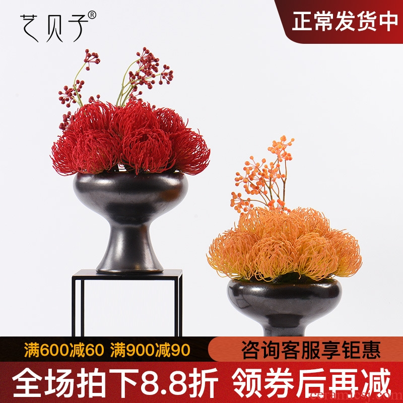 Ceramic vase furnishing articles, the sitting room is the study of new Chinese style more meat potted flower, flower implement example room dry flower, flower art as a whole