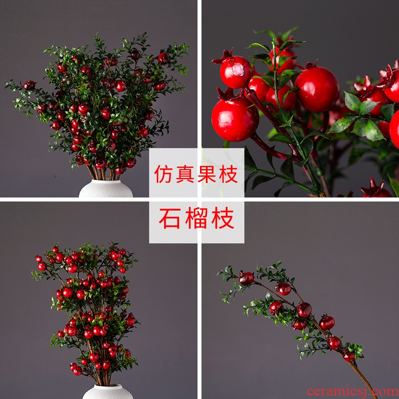 Ceramic simulation flower bouquet of pomegranate fruit household adornment flowers sitting room ground vase desktop furnishing articles flower arranging flowers