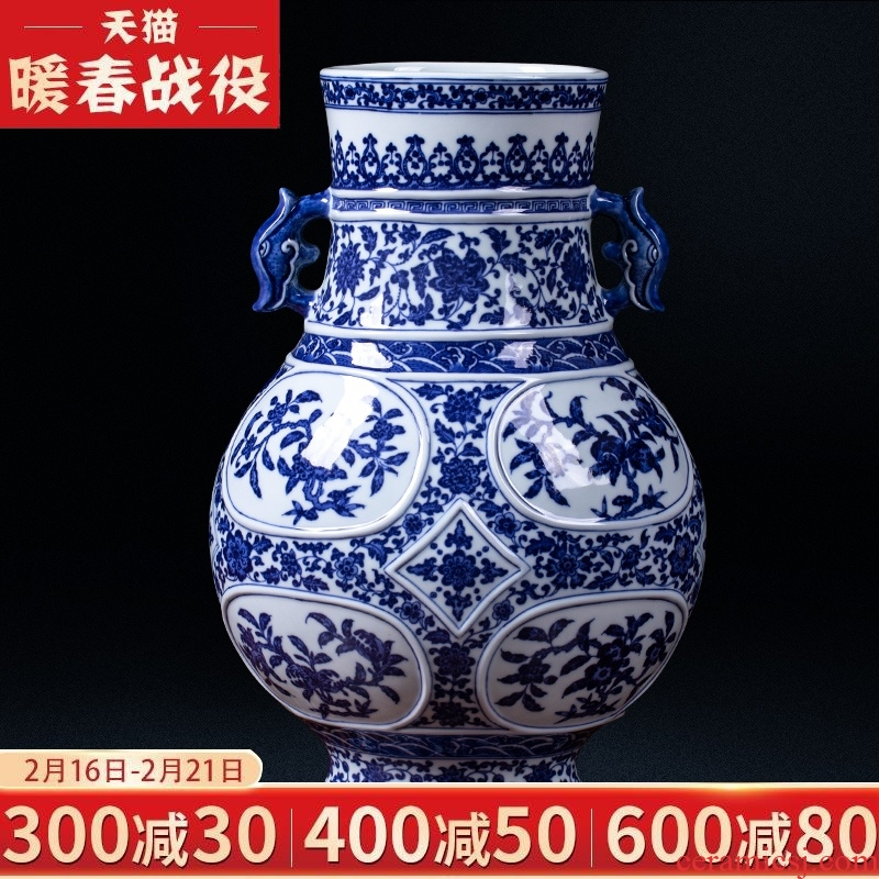 Jingdezhen ceramics antique hand - made the ears of the blue and white porcelain vases, flower arrangement sitting room of Chinese style household decorations furnishing articles