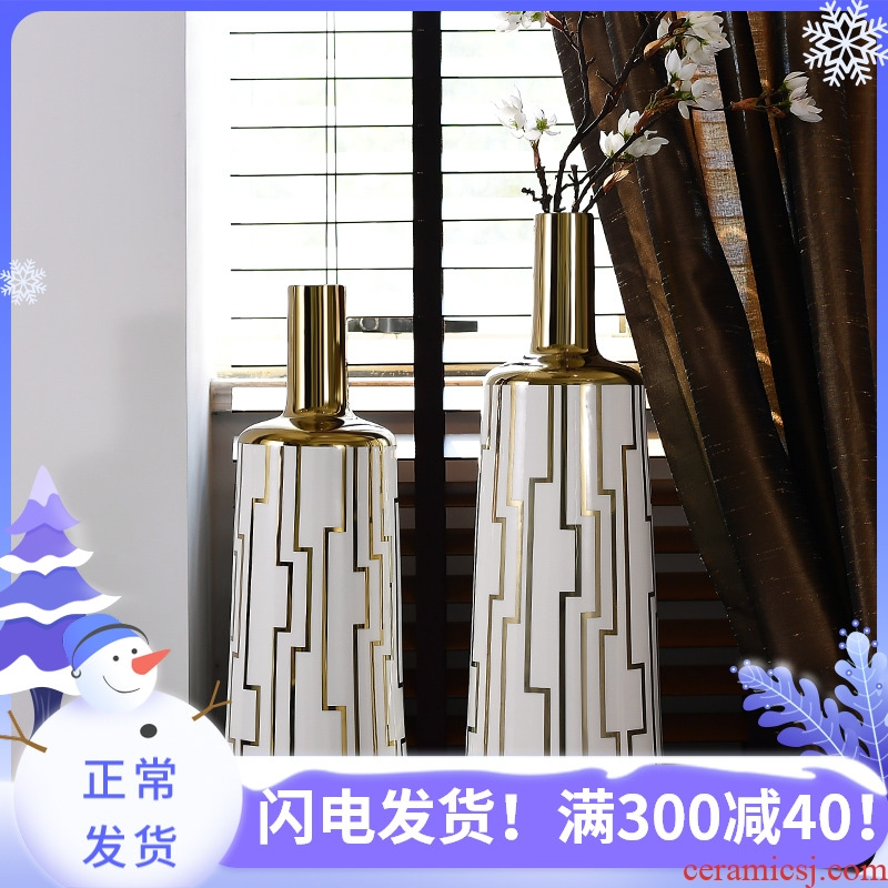 European modern creative living room dry flower arranging flowers ipads porcelain vase is placed between example light key-2 luxury home decorations