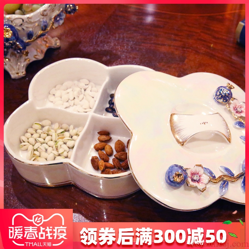 European fruit tray with cover living room creative dry fruit tray was home large ceramic with cover compote European - style