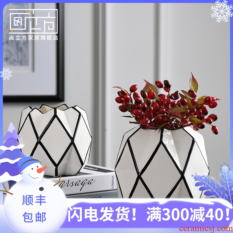 Sitting room cubic Nordic creative geometry ceramic table vase flower arranging dried flower vase household decorative furnishing articles