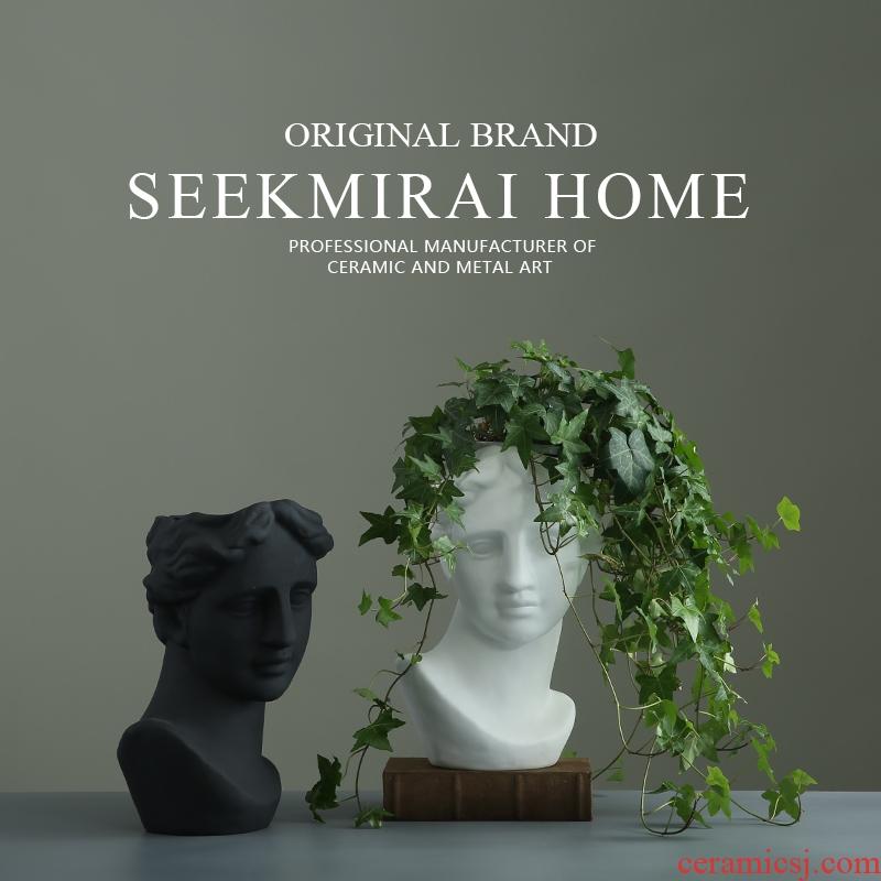 European girls more than half a head meat flowerpot flower implement modern creative home decoration head ceramic vases, furnishing articles