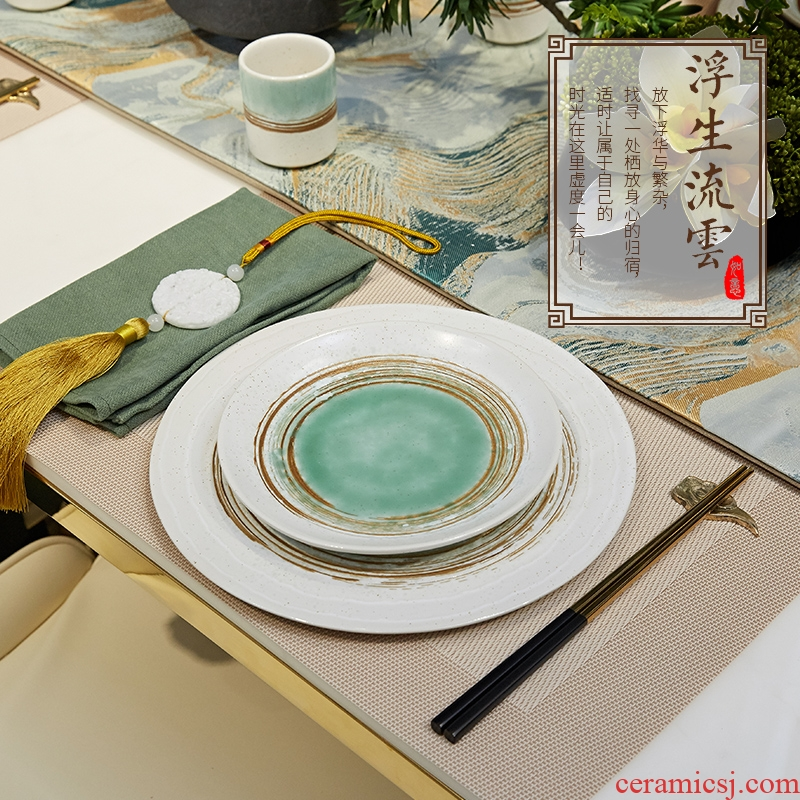 New Chinese style ceramic tableware suit home sitting room dining - room table in example room household act the role ofing is tasted a housewarming gift