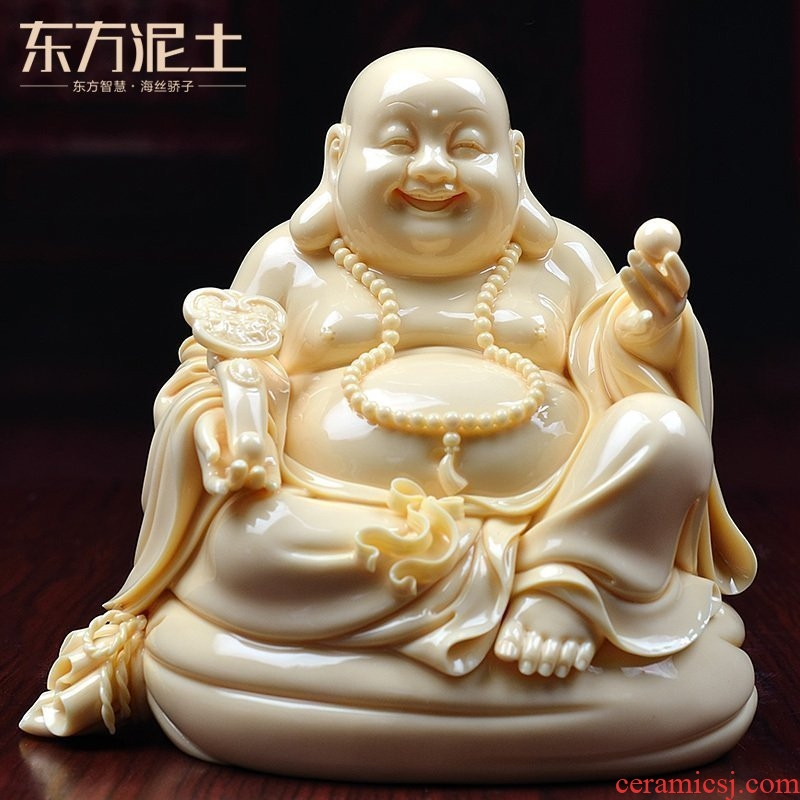 Oriental clay ceramic laughing Buddha furnishing articles dehua its art for the maitreya Buddha/jade Huang Ruyi