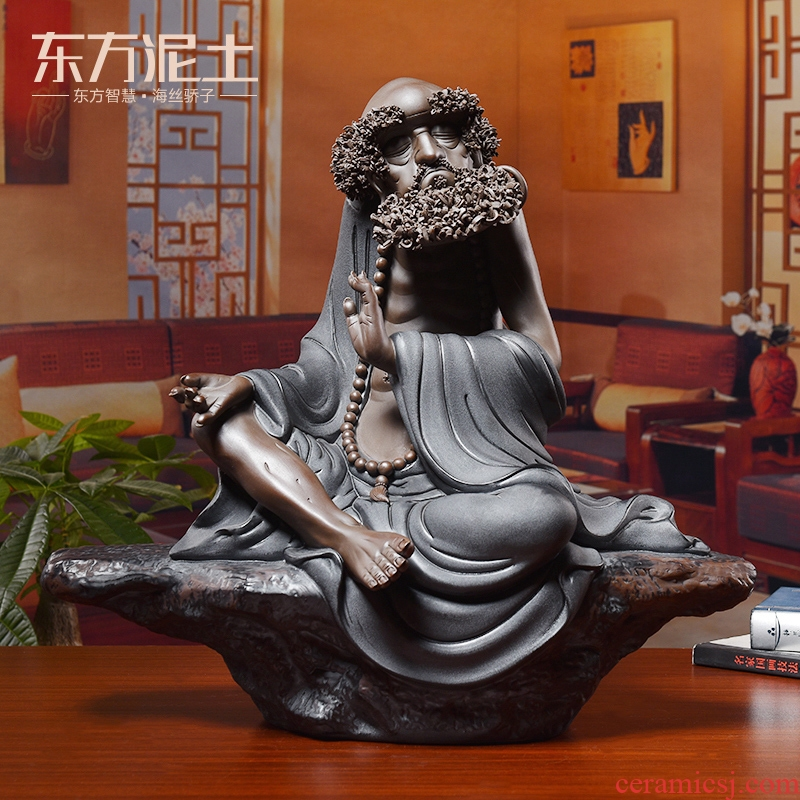 Oriental clay ceramic dharma zen furnishing articles sitting room of Chinese style household adornment handicraft/zen way is long, life is short