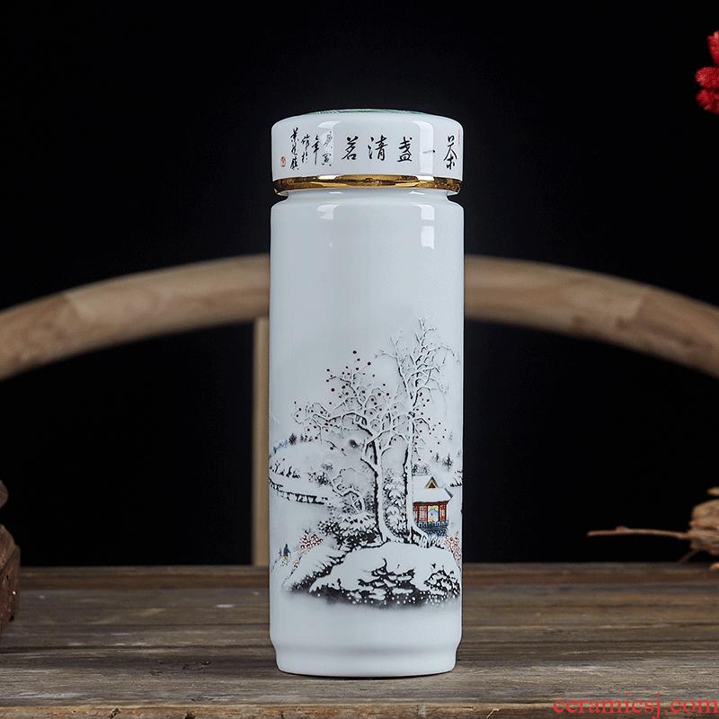 Jingdezhen ceramic double vacuum cup men 's and women' s business celadon water glass ceramic filter tank car belt