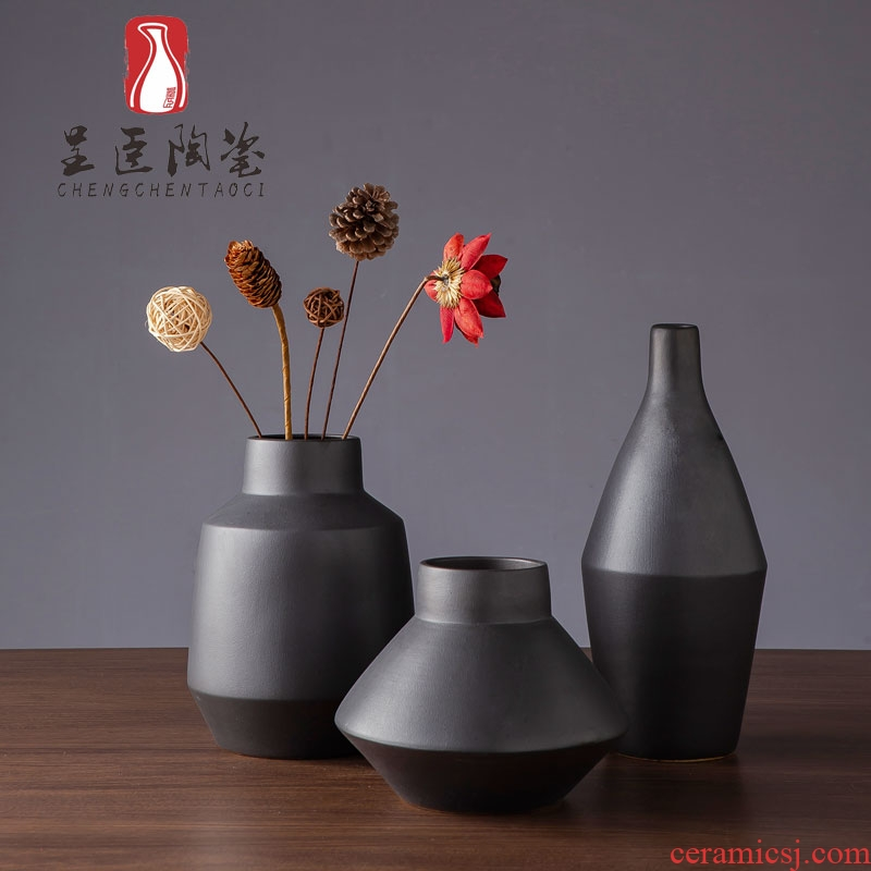 Black flower arranging furnishing articles of I sitting room is contracted decorative dried flowers floret bottle of jingdezhen ceramic vase zen study