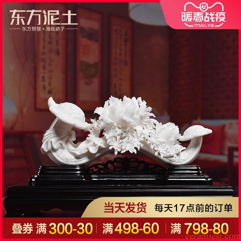 Oriental clay ceramic flower its art best place Chinese wine TV ark, sitting room decoration