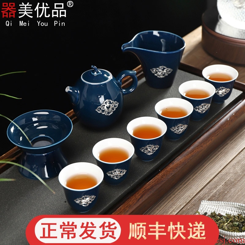 Is the best tea with ceramic kung fu tea set with silver tea set tea gift of a complete set of tea in the cup