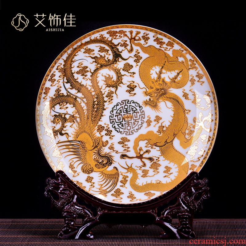 Jingdezhen chinaware paint longfeng porcelain decoration plate sat dish sitting room porch TV ark adornment household furnishing articles