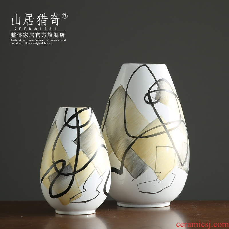 Convergent big oval ceramic vase Nordic sitting room dry flower arranging flowers, flower implement example room hand - made porcelain furnishing articles