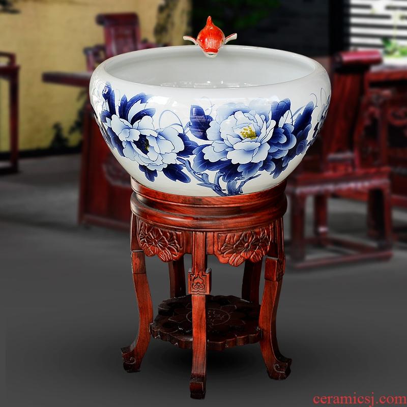 Jingdezhen ceramic blue aquarium fish bowl large fortune lotus feng shui garden hotel company in VAT furnishing articles