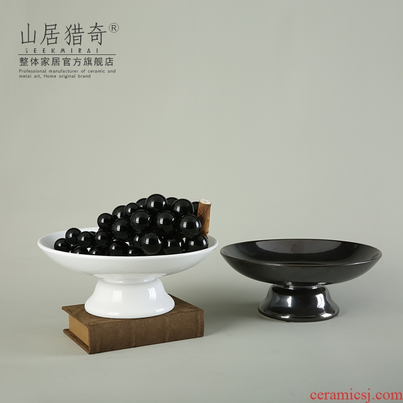 Modern home furnishing articles sitting room tea table table decoration of Chinese style ceramic fruit bowl compote household for the plate