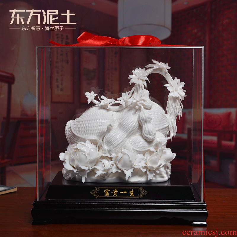 Oriental clay ceramic flower manual its handicraft decorative furnishing articles version into gifts/prosperous life