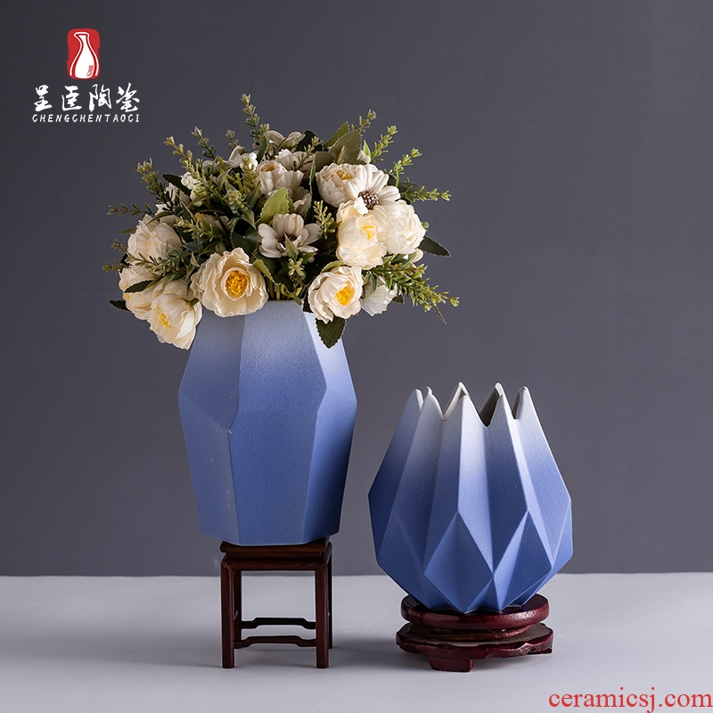 Jingdezhen ceramic Nordic vase contracted TV ark of desk of I sitting room porch creative furnishing articles dried flower vase