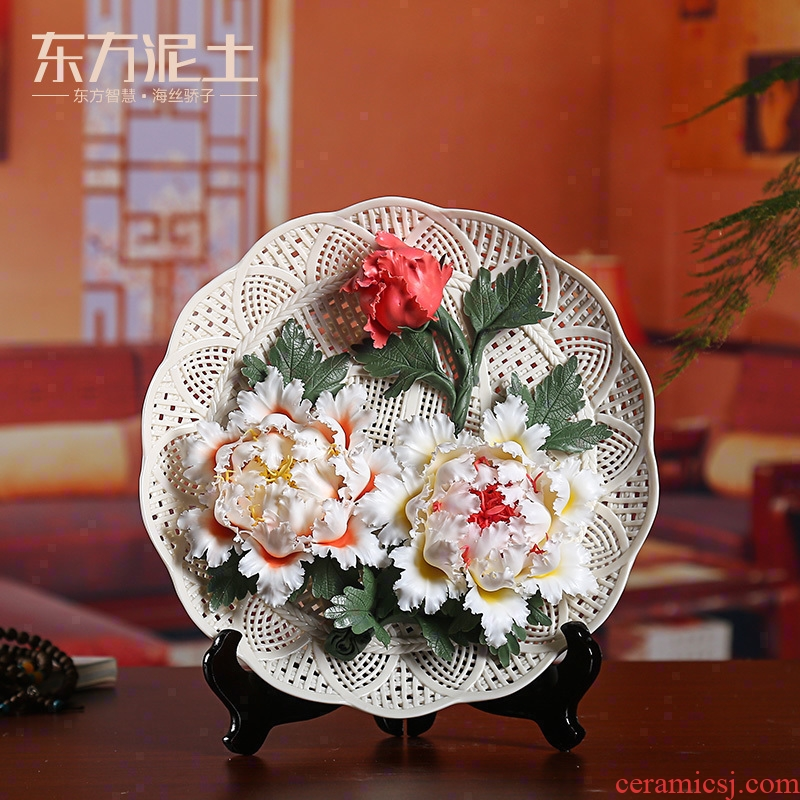 Oriental soil creative ceramic flower hang dish place Chinese rich ancient frame of TV ark, wine sitting room adornment sat dish