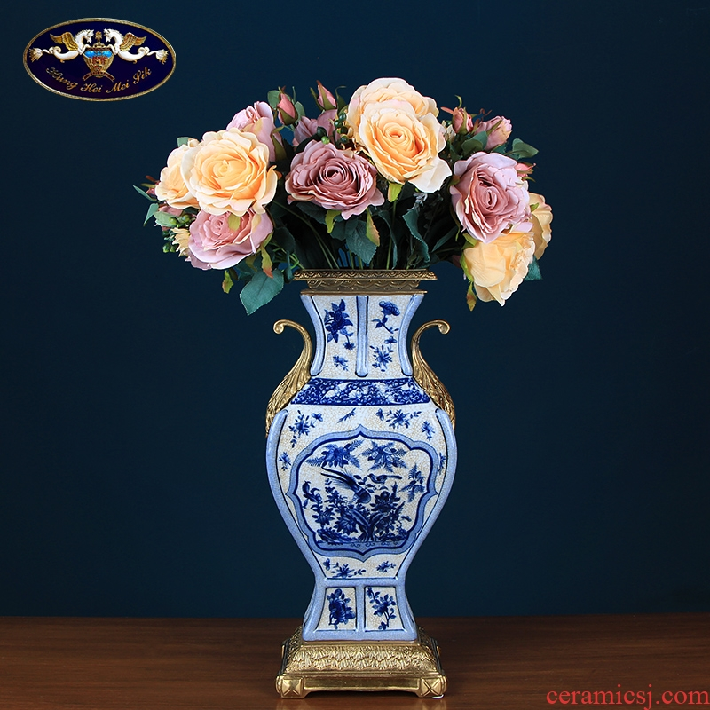 Blue and white vase neo - classical European ceramic inlaid copper handicraft furnishing articles flowers in the sitting room porch soft outfit example room
