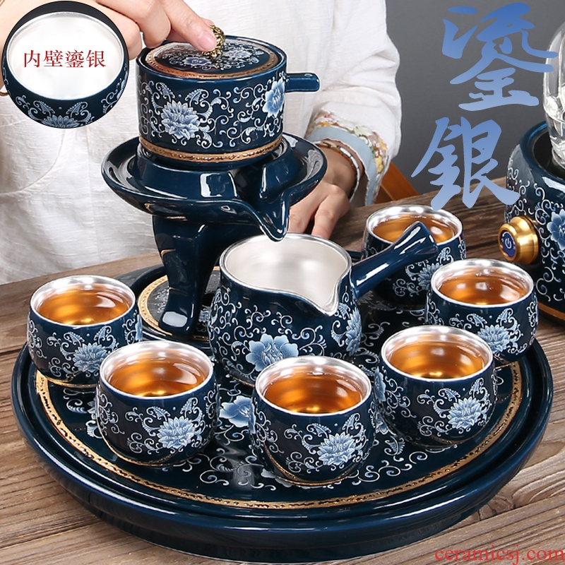 Chinese style is contracted kung fu tea set manual 999 tasted silver gilding ceramic teapot drainage of blue and white porcelain tea tray tea table